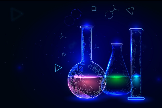 화학 실험실 배경 컨테이너 프리미엄 벡터