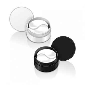 Containers with hydrogel patches for the eyes.  illustration of realistic eye gel patches