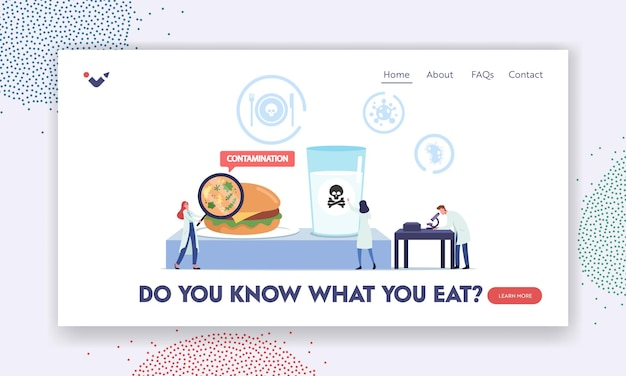 Contaminated poisoned food landing page template. tiny doctors characters with huge magnifier and microscope research infected ingredients and water in laboratory. cartoon people vector illustration