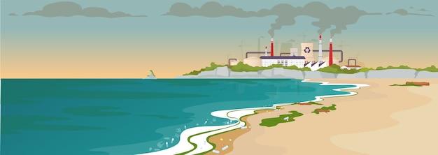Загрязненный песчаный пляж плоский цветной рисунок. экологическая катастрофа