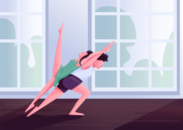 Contemp dancers movements  color  illustration. contemporary partner dance male and female performers  cartoon characters. people at dancing class with studio windows on background