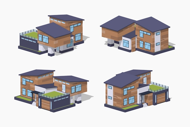 Contemporary 3d lowpoly isometric house