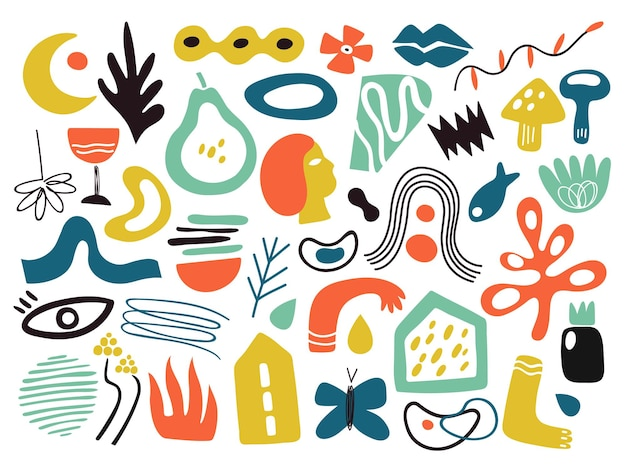 현대 추상 형태. 미니멀한 평면 다른 모양, 동적 스타일 아트 요소. 간단한 꽃 잎 식물 벡터 일러스트 레이 션. 현대 예술적 다채로운, 추상적인 그림 콜라주