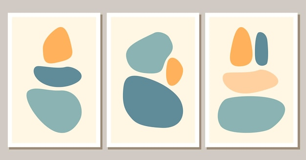 Современные абстрактные формы постеры в стиле бохо современный фон набор богемной эстетики