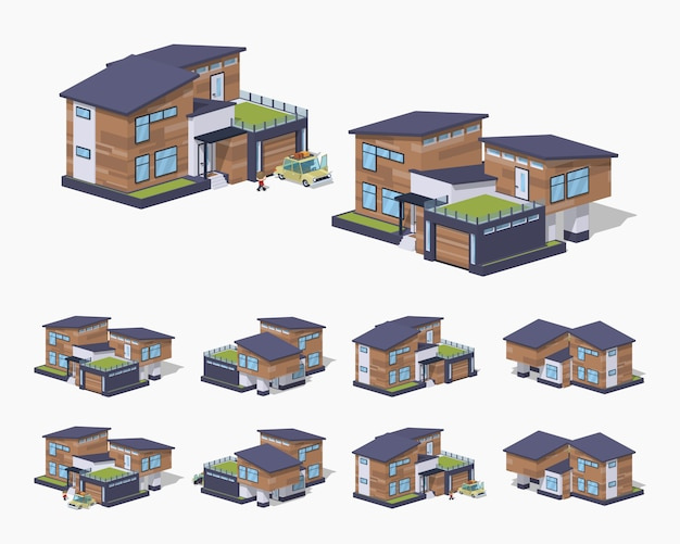 Contemporary american 3d lowpoly isometric house