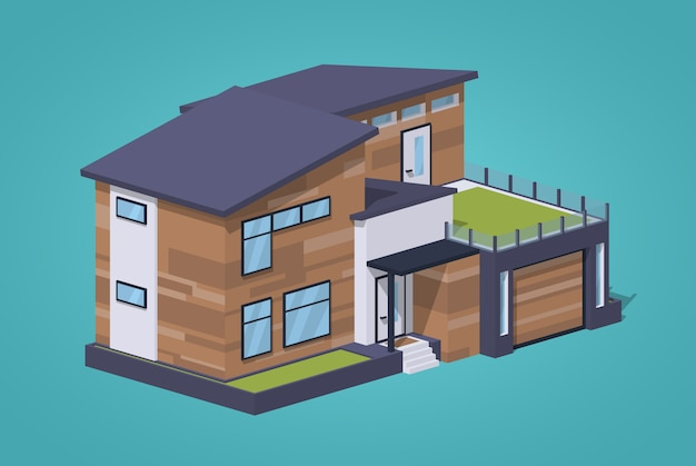 Contemporary american house against. 3d lowpoly isometric vector illustration
