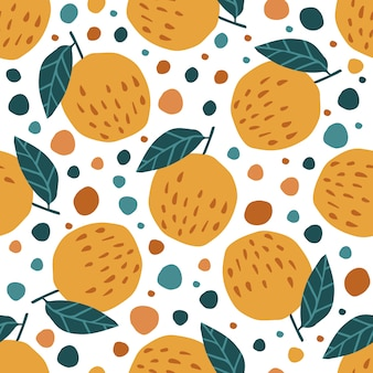 Contemporary apples and leaves seamless pattern on white
