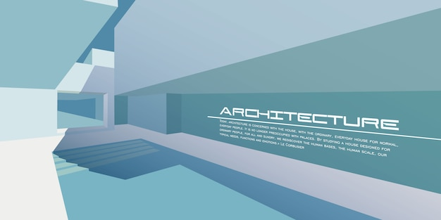 Contemporary architecture vector mockup for a layout landing page or design advertising booklet or leaflet
