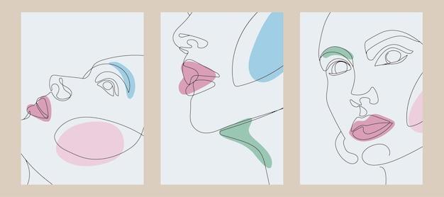 Contemporary art cover templates boho girl continous line drawing Premium Vector