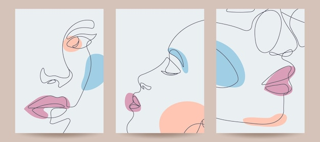 Contemporary art cover templates boho girl continous line drawing