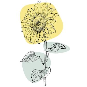トレンディな色のヒマワリポスターの現代アートフローラル。花と幾何学的要素とストローク、葉と花を描く抽象的な手描き。