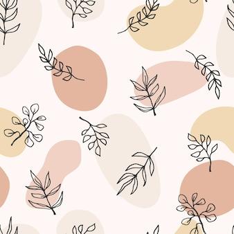 가지, 잎, 식물을 가진 현대 미술 완벽 한 패턴입니다. 라인 아트.