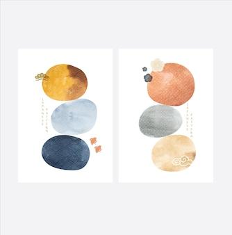 日本のアイコンベクトルと現代美術。アジアンスタイルの水彩テクスチャーと波のパターン。抽象テンプレート。