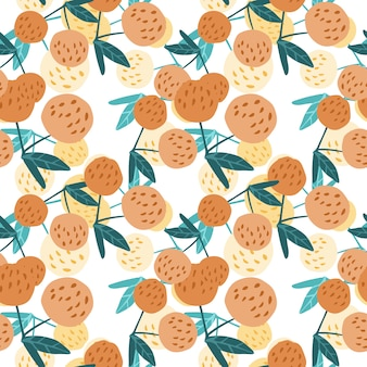 Contemporary cherry berries and leaves seamless pattern.