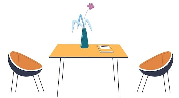 현대적인 식당이나 주방, 테이블과 의자가 있는 인테리어 디자인. 꽃 장식 꽃병이 있는 책상. 심플하고 미니멀한 식사 공간, 현대적인 장식 및 디테일. 평면 스타일의 벡터