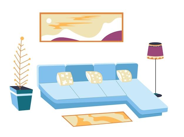 현대적인 주거 인테리어 디자인, 격리된 거실 전망. 작은 베개, 귀여운 깔개 및 벽에 탁 트인 벽 예술이 있는 소파. 장식 houseplant 및 플로어 램프, 평면 스타일의 벡터