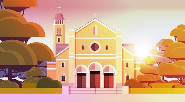 가톨릭 교회 건축 기독교 종교 문화 개념 수평 벡터 일러스트 레이 션의 현대 외관
