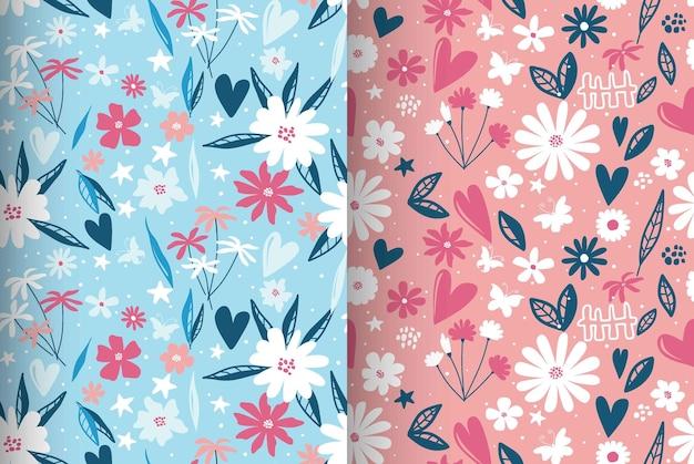 現代的な花柄と水玉模様がシームレスなパターンを形作っています。