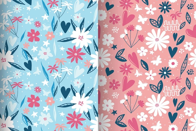 Contemporary floral and polka dot shapes seamless pattern.