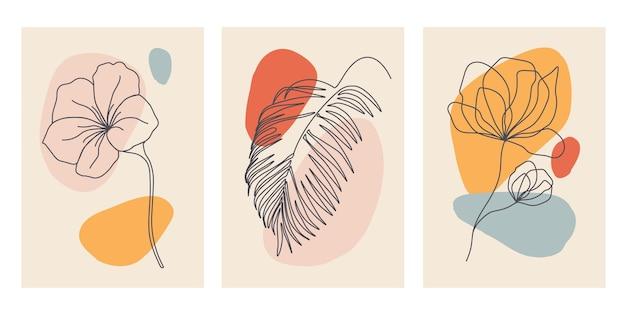 Contemporary hand drawn . continuous line, minimalis botanical templates