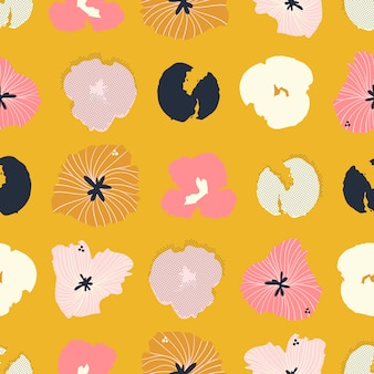 Contemporary hand-drawn floral seamless pattern