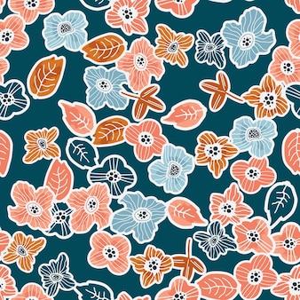 現代的な手描きの花のシームレスなパターン