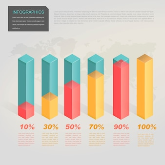 Contemporary infographic design with 3d translucent bar chart elements