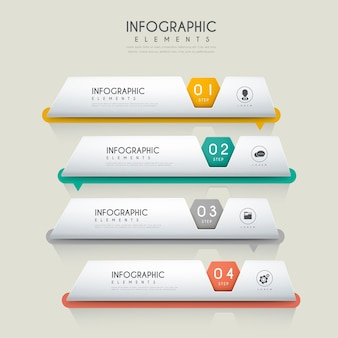 Contemporary infographic design with file tags elements