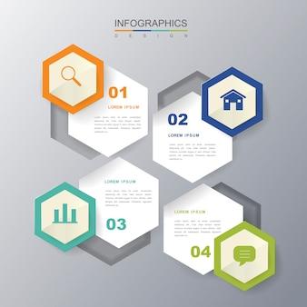 六角形のラベル要素を持つ現代的なインフォグラフィックデザイン