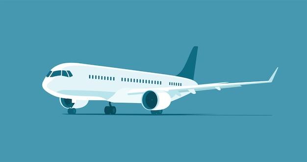 孤立した現代のジェット旅客機。ベクトルイラスト。