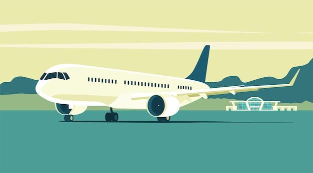 抽象的な風景を背景にした現代のジェット旅客機。ベクトルイラスト。