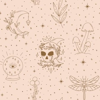 Contemporary magical seamless pattern mystic vector mushrooms moon leaf key crystal ball scull