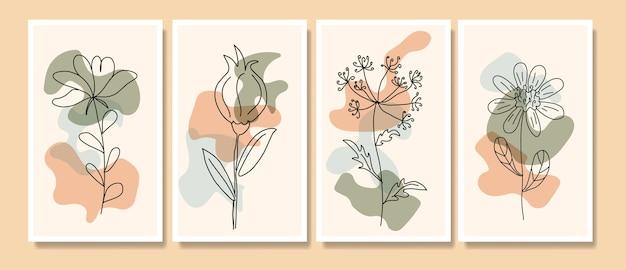 現代のミッドセンチュリー手描き自由奔放に生きるpotrait連続線ミニマリス植物テンプレート Premiumベクター