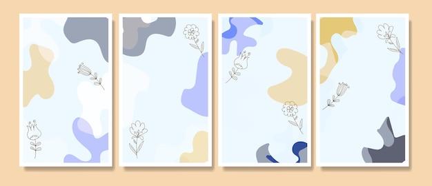 現代のミッドセンチュリー手描き自由奔放に生きるpotrait連続線ミニマリス植物テンプレート