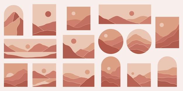 현대 현대 미니멀 추상 산 풍경 미적 삽화
