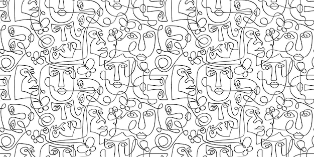 Contemporary pattern with tribal surreal face line art drawing