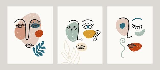 Современный портрет. иллюстрации с модной раскраской лица. современный абстрактный дизайн для интерьера, плаката, обложки и другого использования