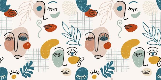 現代の肖像画。トレンディな抽象的な顔の絵とシームレスなパターン。紙、カバー、ファブリック、インテリア、その他の用途向けのモダンなデザイン。