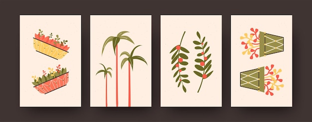 Contemporary posters set with aloe barberae and flowers in pots