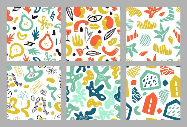현대 모양 완벽 한 패턴입니다. 기하학적 현대 배경, 다채로운 유행 콜라주 템플릿. 최소한의 낙서 꽃 벡터 텍스처입니다. 꽃 이국적인 그려진, 포스터 유행 포장 그림