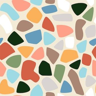 現代的な形のシームレスなパターン。現代の背景のベクトルイラスト。