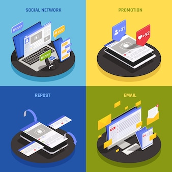 Contemporary social media technology concept 4 isometric compositions with using network promotions smartphone repost mailing