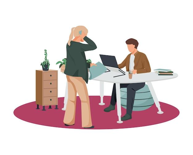 Composizione piatta nell'area di lavoro contemporanea con l'uomo seduto sulla palla al tavolo moderno con l'illustrazione della donna
