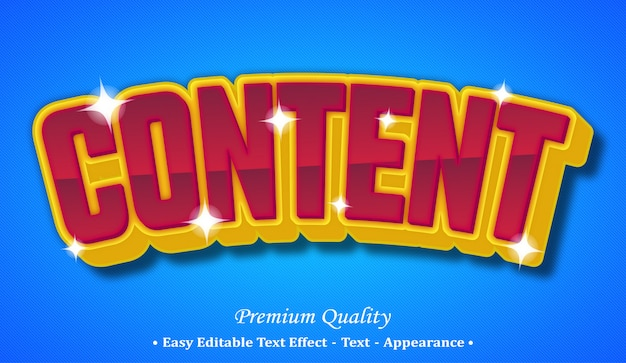 Content 3d editable text style effect