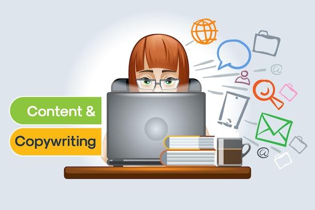 콘텐츠 및 카피 라이팅, 소셜 네트워크, 웹 사이트 및 원격으로 전문가의 작업 준비 및 배치 및 사무실.