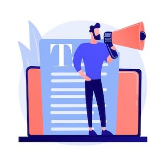 콘텐츠 및 매스 미디어 마케팅. 카피 라이팅 인터넷 광고. 홍보 기사, 뉴스, 방송. 블로거, 확성기 개념 그림을 들고 사람
