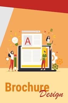 콘텐츠 작성자 또는 작가 작업 개념. 창의적인 기사를 작성하고 텍스트를 편집하는 노트북의 프리랜서 블로거. 블로깅, seo 마케팅, 온라인 교육 주제에 대한 벡터 일러스트 레이션