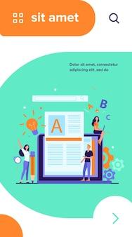 Концепция работы автора или писателя контента. блогер-фрилансер за ноутбуком пишет творческую статью, редактирует текст