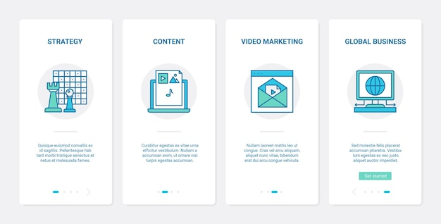 Content business strategy video marketing ux ui onboarding mobile app page screen set