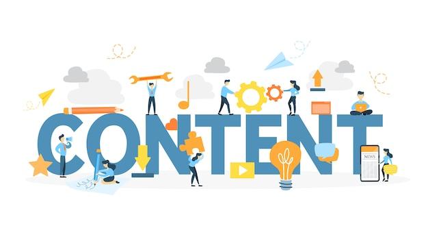 콘텐츠 컨셉 일러스트입니다. 새로운 정보와 창의성의 아이디어.